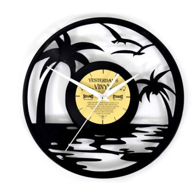 Yesterdays Vinyl Klok Strand Met Palmboom 30 cm